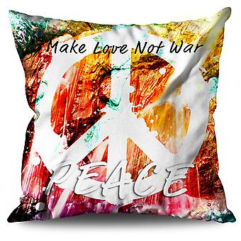 Make Love Not War Linen Cushion 30cm x 30cm | Wellcoda