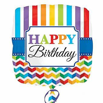 Sken na světle šťastný den narozenin & prokládaný obdélník s čtvercovými návrhy