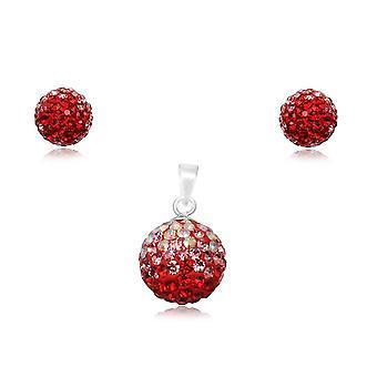 مجوهرات قلادة وأقراط في البلورة الحمراء و 925 الفضة