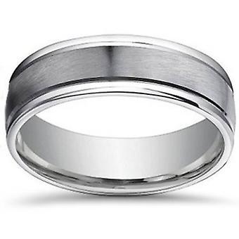 7mm geborsteld plat Platinum Mens Comfort Fit trouwring