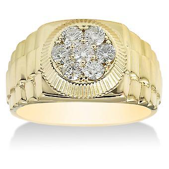 3 / 4ct pierścionek męskie 14K żółte złoto