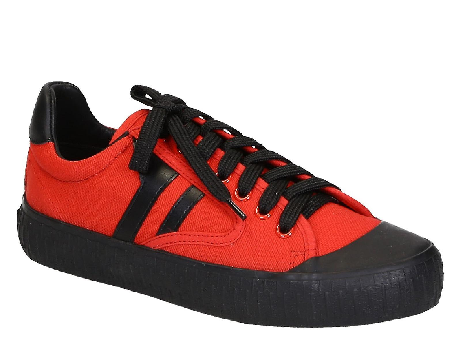 C�line women's low top sneaker shoes in red canvas q3Ry1
