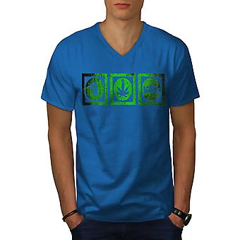 Beer Weed Sleep Funy Men Royal BlueV-Neck T-shirt   Wellcoda