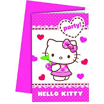 Hello Kitty hearts kitten party invitation cards 6 piece children birthday theme party
