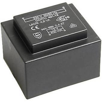 Gerth PT420902 PCB mount transformer 1 x 230 V 2 x 4.50 V AC 4.80 VA 533 mA