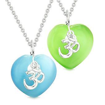 Antiikin OM amuletit rakkaus pari parhaat ystävät Magic sydämet sininen vihreä simuloitu Cats Eye kaulakorut