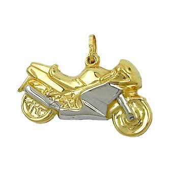 Pendant 28mm motorcycle of bicolor 9Kt GOLD