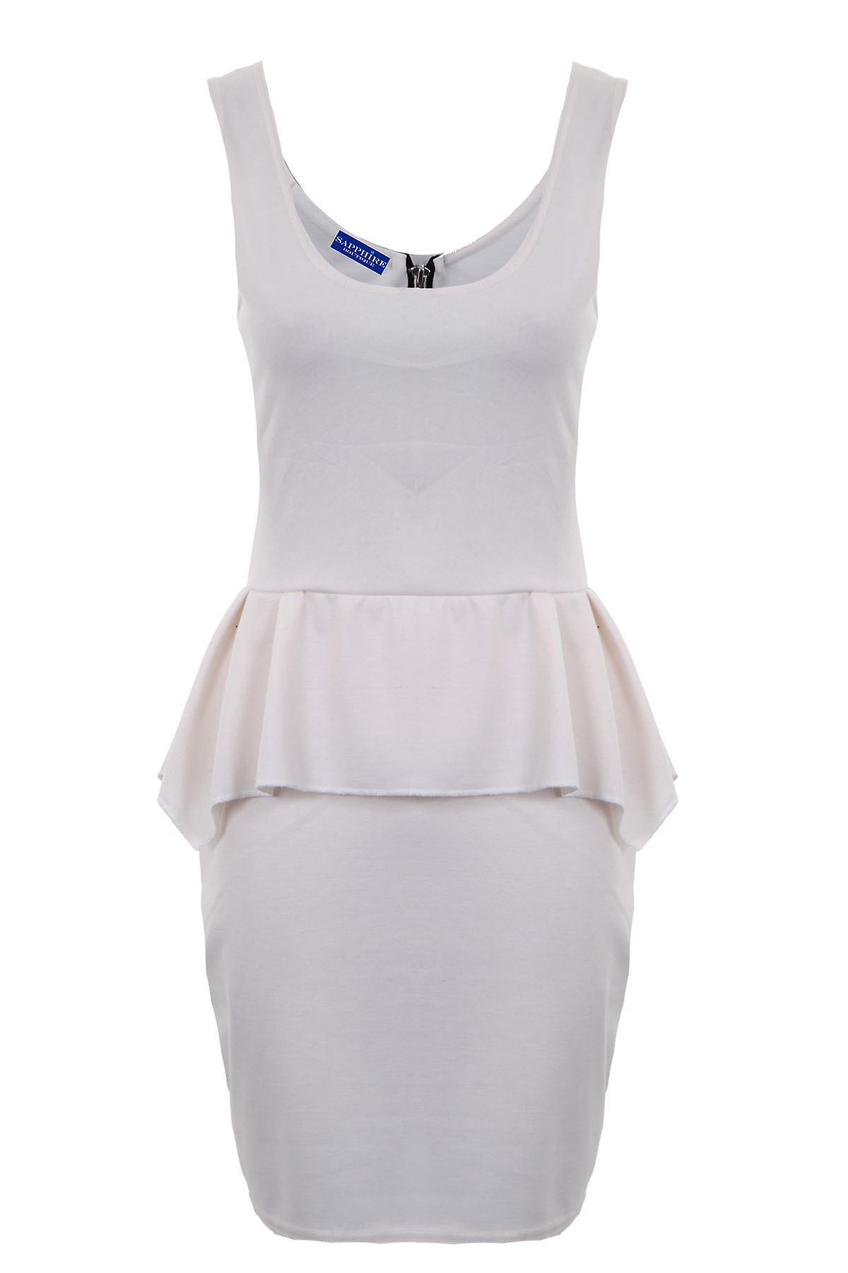 Hyvät Kompressiosetti U kaulan Zip vaihto Peplum naisten Bodycon varustettu lyhyt mekko