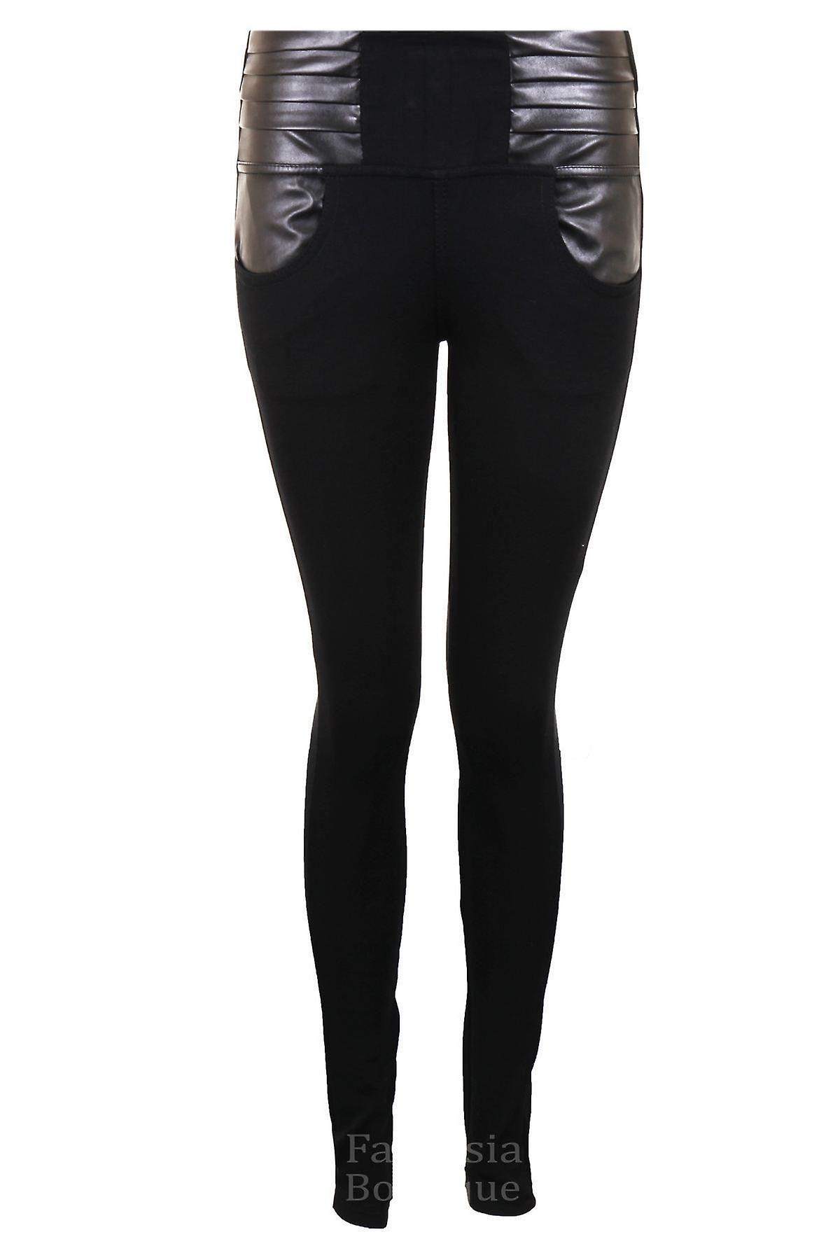 Ladies Wet Look Zip Button Black Women's Smart Skinny Fit Jeggings Leggings