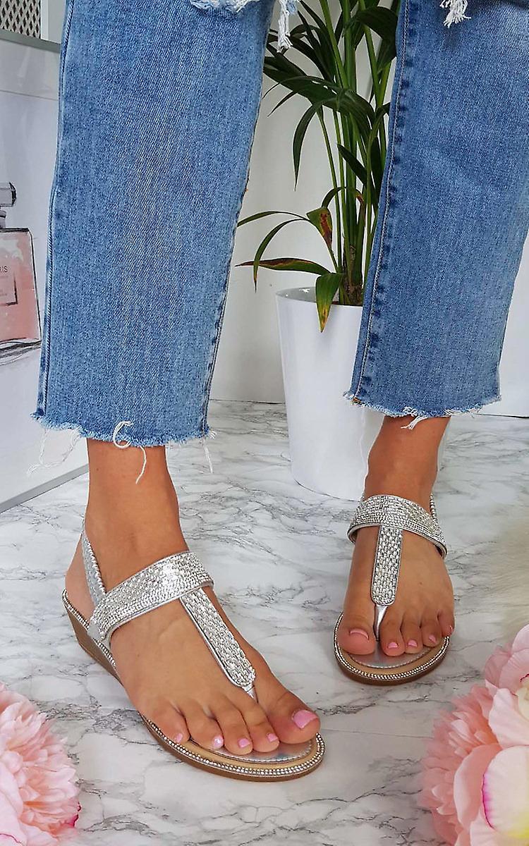 IKRUSH Womens Emie Embellished T-Bar Wedged Sandal 6y5n0