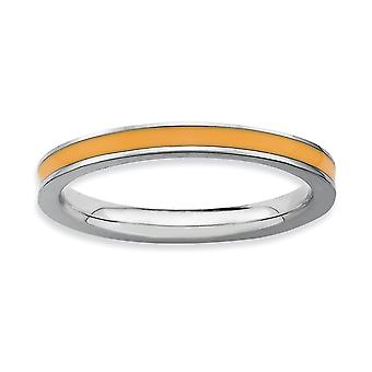 925 Sterling Silver Polished Rhodium-plated Stackable Expressions Orange Enameled 2.25mm Ring - Ring Size: 5 to 10
