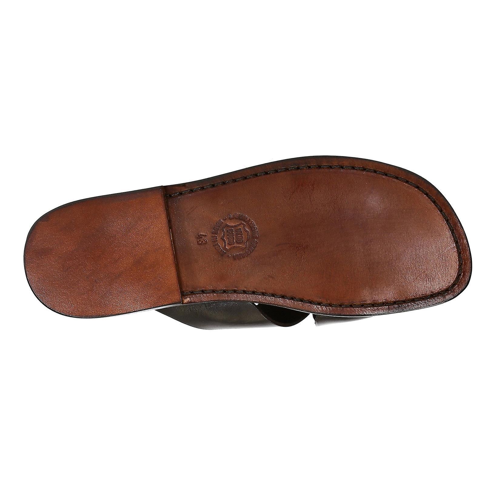 Mens läder tofflor handgjord i Italien i mörkbrunt läder - Gratis frakt