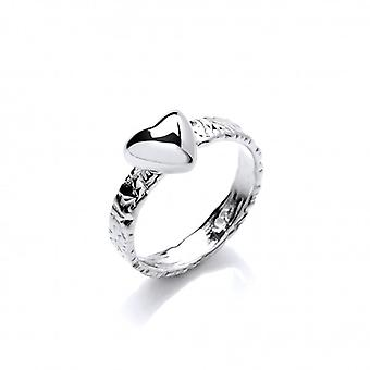 Cavendish francia texturált Silver Heart Ring