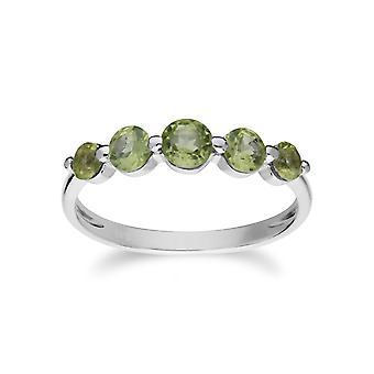 Essentielle Runde Peridot fünf Stein Farbverlauf Ring in 925 Sterling Silber 270R055904925