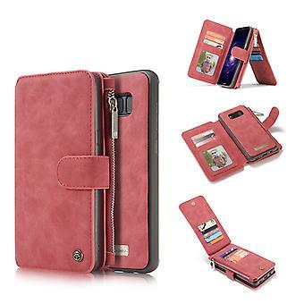 CASEME Samsung Galaxy S8 retro lederen portemonnee Case-rood