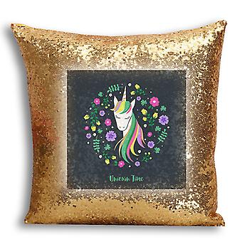 i-Tronixs - Unicorn Printed Design Gold Sequin Cushion / Pillow Cover for Home Decor - 15