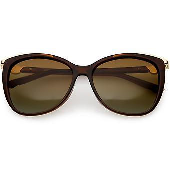 Women's Classic Metal Trim placu kot oko okulary spolaryzowane soczewki 55mm