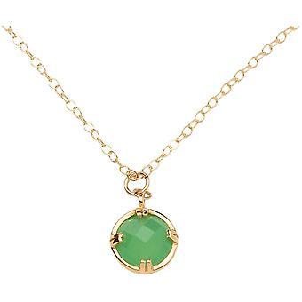 Gemshine kvinnors halsband. Grön Chalcedon hänge. 925 silver eller guldpläterad