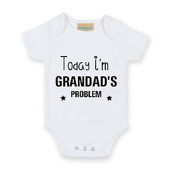 Today I'm Grandad's Problem White Short Sleeve Baby Grow