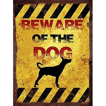 Vintage Metal væg tegn - pas på hunden