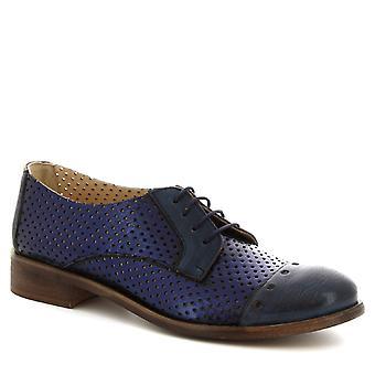 Leonardo skor kvinnors handgjorda Oxford skor i blått genombrutna kalv läder