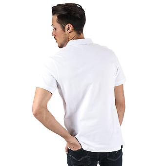 Mens Bench Classic Cotton Polo Shirt In White- Short Sleeve- Ribbed Cuffs And