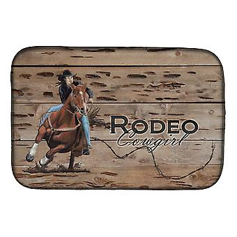 Carolines Treasures  SB3055DDM Rodeo Cowgirl Barrel Racer Dish Drying Mat