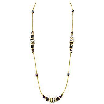 Eternal Collection Maranello Grande Jet Black And Gold Venetian Murano Glass Necklace