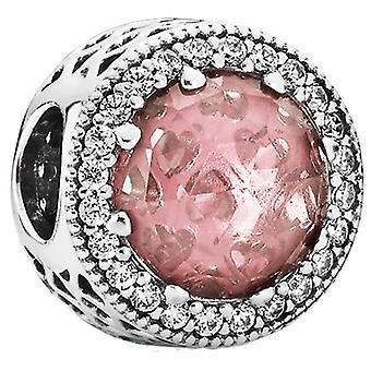 PANDORA urok Promienne serca - rumienić różowy kryształ & PAVÉ - 791725NBP