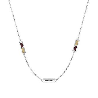 Texas State University Sterling Silver Engraved Triple Station Necklace In Maroon and Brown