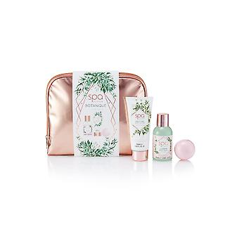 Style & Grace Spa Botanique Cosmetic Bag Set - 55g Bath Fizzer, 100ml Body Wash, 100ml Body Lotion and Cosmetic Bag