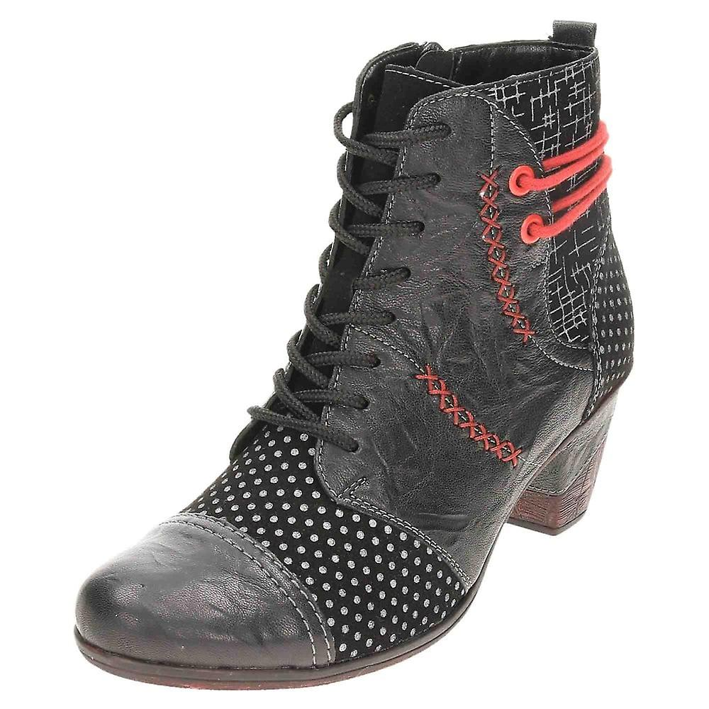Remonte Leather Ankle Boots Lace Up Zip D8786-02 Vintage Style