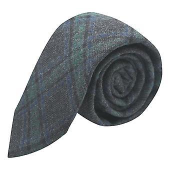 Dark Grey & Green check tie, Tweed, Tartan, xadrez