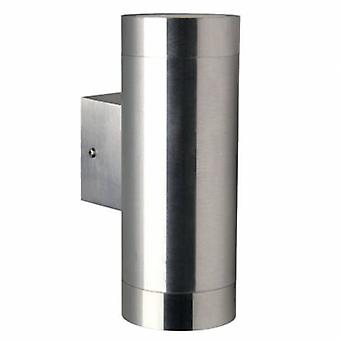 2 Light Outdoor Cylinder Up / Down Wall Light Stainless Steel Ip54