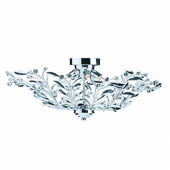 6 Light Flush Multi Arm Deckenleuchte Chrom, Kristall
