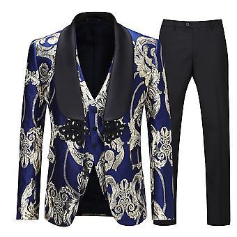 Allthemen Men ' s tuxedos 3-db öltöny gyapjú nyomtatott kendőt gallérral násznép Blazer & pants & Vest