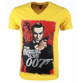 Camiseta-James Bond de Rusia 007 Print-Yellow