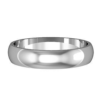 Κοσμήματα του Λονδίνου 18ct λευκό χρυσό-4mm απαραίτητο σχήμα D μπάντα δέσμευση/δαχτυλίδι γάμου