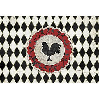 Rooster Harlequin Black and white Fabric Placemat