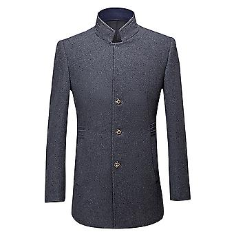 Allthemen Men's Wolle Mantel Mid-Long Slim Fit Business Casual Solid Overcoat