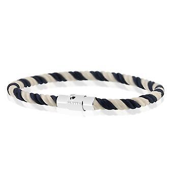 Skipper armband magnetisk stängning arm smycken nylon flätad blå/vit 8161