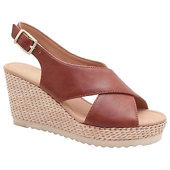 Gabor Tan Cross Strap Sandale Wedge
