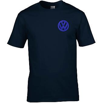 VW Motor Car Motoring - gesticktes Logo - blau weiß - Baumwolle Premium T-Shirt