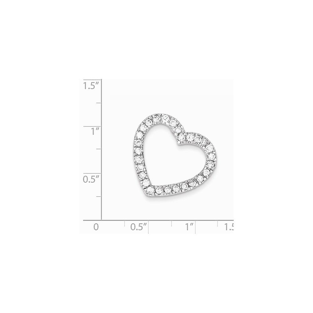 925 Sterling Silver Polished Rhodium plated CZ Cubic Zirconia Simulated Diamond Love Heart Slide Pendant Necklace Jewelr