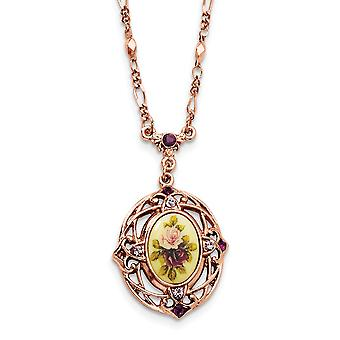 Fancy Lobster Closure Rose tone Dark Purple Crystal Floral Decal 28 Inch Necklace Jewelry Gifts for Women