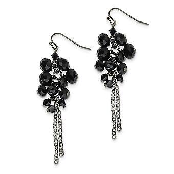 Shepherd hook Black Plating Black-plated Black Crystal Beaded Cluster Drop Earrings