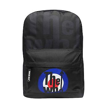 The Who Backpack Bag Classic MOD Target distressed Band Logo new Official Black