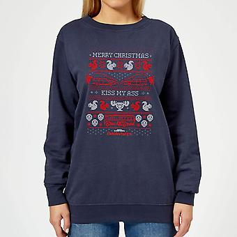 National Lampoon Merry Christmas Knit Women-apos;s Christmas Sweatshirt - Marine