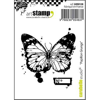 """Carabelle Studio """"Grunge Butterfly"""" Cling Stamp, White/Transparent, Mini"""