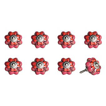 """1.5"""" x 1.5"""" x 1.5"""" Farbtöne von Rosa, Rot und Grün - Knöpfe 8-Pack"""